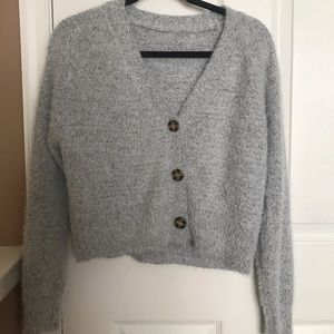 American Eagle Grey Button Up Sweater